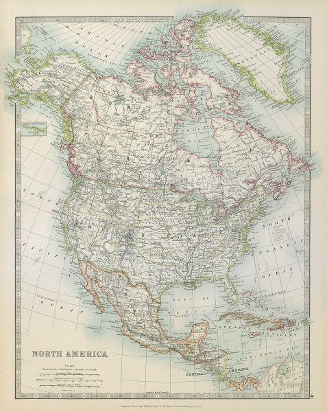 Associate Product NORTH AMERICA. United States Canada Mexico. Railways. JOHNSTON 1915 old map
