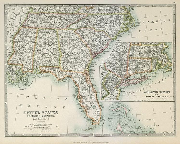 Associate Product USA DEEP SOUTH. Florida Georgia Carolinas Alabama Tennessee. JOHNSTON 1915 map
