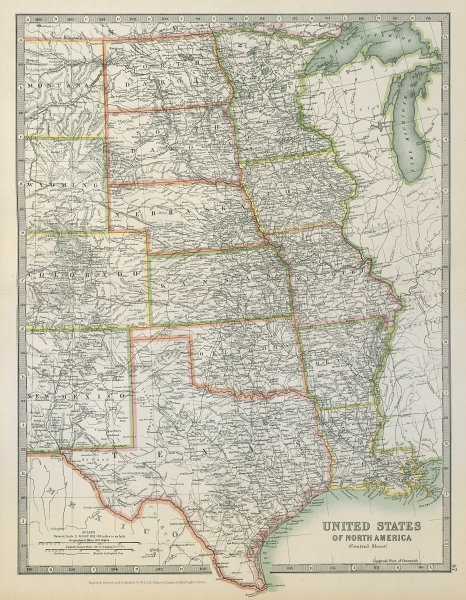 Associate Product MISSISSIPPI VALLEY. Central United States Texas USA Railways. JOHNSTON 1915 map