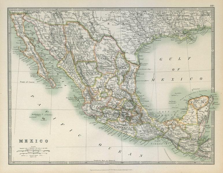 Associate Product MEXICO showing states. Guatemala & British Honduras. JOHNSTON 1915 old map