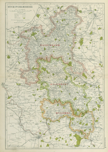 Associate Product BUCKINGHAMSHIRE. Showing Parliamentary divisions,boroughs & parks.BACON 1920 map