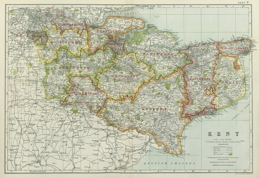 Associate Product KENT. Showing Parliamentary divisions, boroughs & parks. BACON 1920 old map