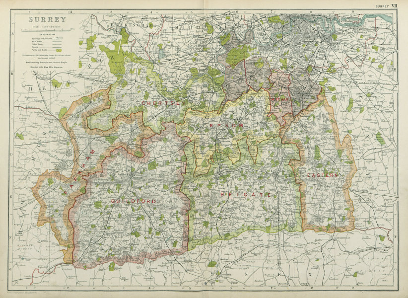 Associate Product SURREY. Showing Parliamentary divisions, boroughs & parks. BACON 1920 old map