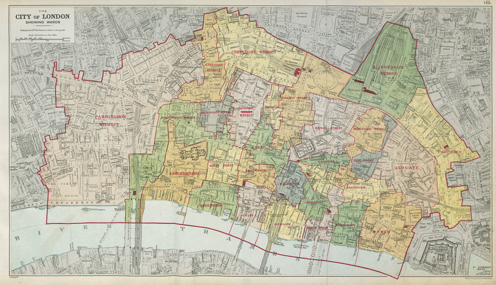 Associate Product CITY OF LONDON showing WARDS. Churches & public buildings plans. BACON 1920 map