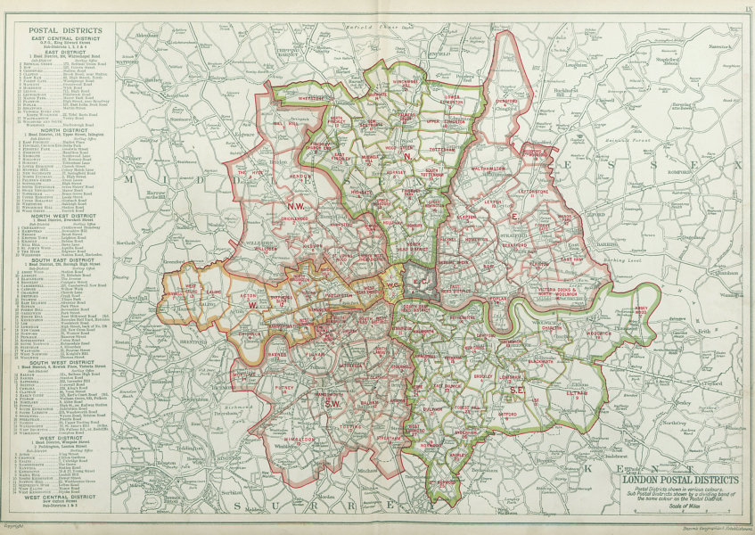 Associate Product LONDON POSTAL DISTRICTS. Post code areas. N NW W SW SE E. BACON 1920 old map