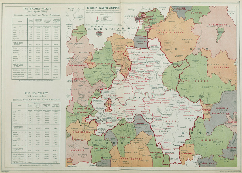 LONDON WATER SUPPLY. Metropolitan Water Board. Reservoirs Pumping Stns 1920 map