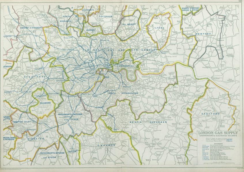 Associate Product LONDON GAS SUPPLY areas + UNDERGROUND/Tube & electrified railways.BACON 1920 map