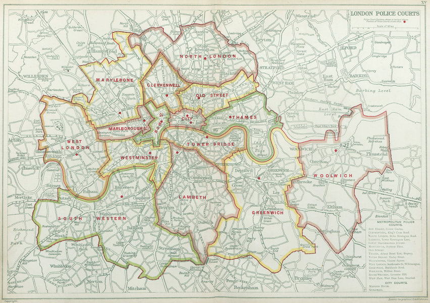 Associate Product LONDON POLICE COURTS. Showing divisions & court locations. BACON 1920 old map