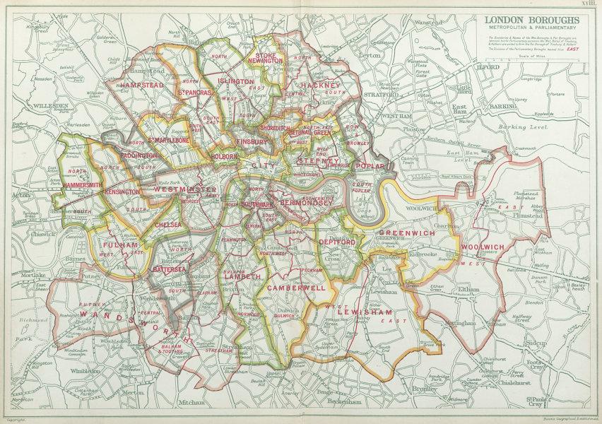 Associate Product LONDON BOROUGHS. Metropolitan & Parliamentary. Consistiuencies. BACON 1920 map