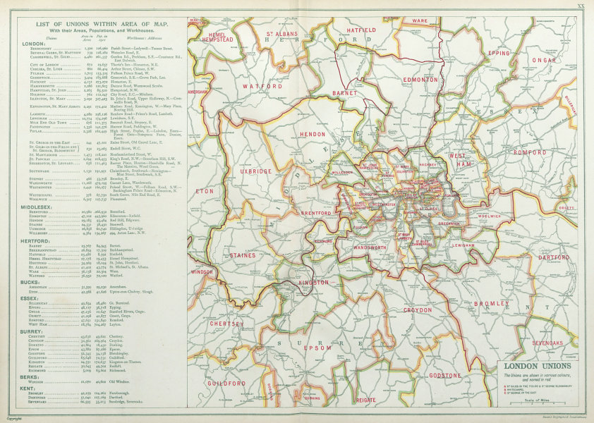 Associate Product LONDON POOR LAW UNIONS. Workhouses. Populations. BACON 1920 old vintage map