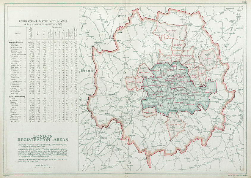 Associate Product LONDON POPULATION, BIRTHS & DEATHS for 1926. County of London. BACON 1920 map