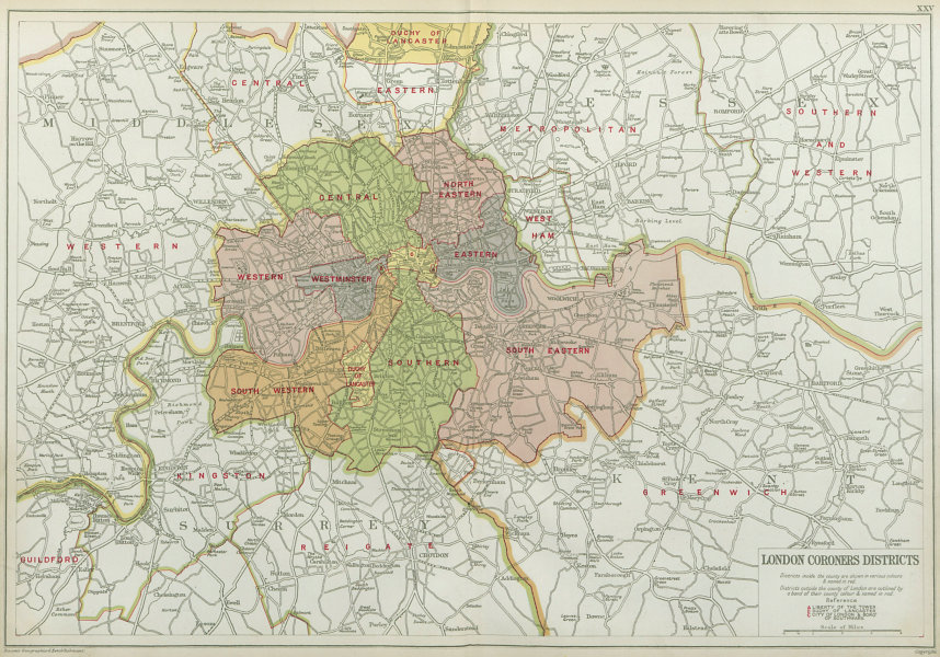 Associate Product LONDON CORONERS DISTRICTS. Vintage map. BACON 1920 old vintage plan chart