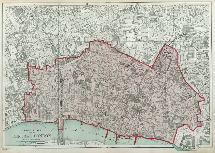 Associate Product The CITY OF LONDON. The Square Mile. BACON 1920 old vintage map plan chart