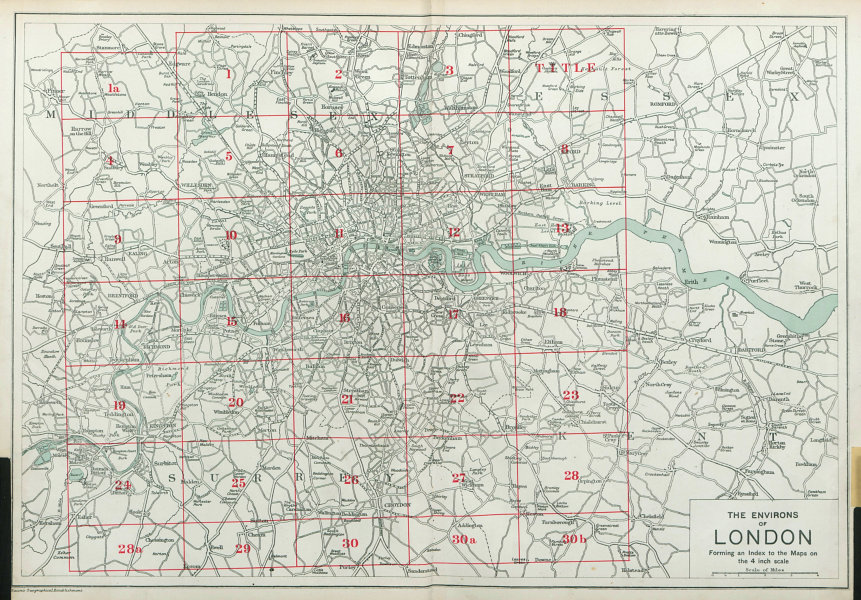 Associate Product THE ENVIRONS OF LONDON. Index map. Main roads. BACON 1920 old vintage