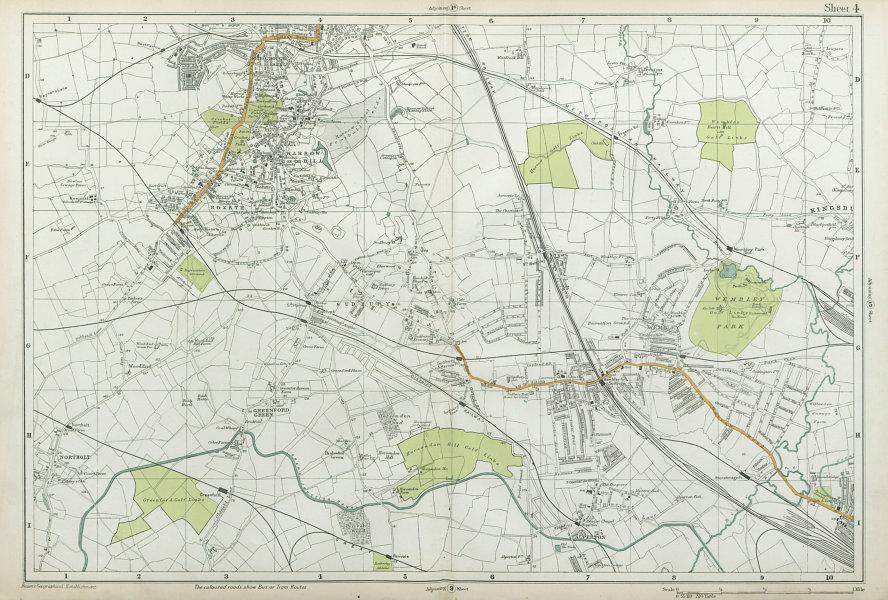 Associate Product HARROW WEMBLEY BRENT Sudbury Greenford Northolt Kenton Alperton. BACON  1920 map