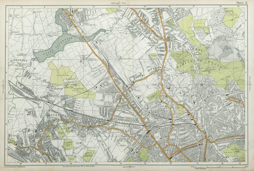 Associate Product HAMPSTEAD WILLESDEN Cricklewood Golders Green Kilburn Belsize Pk BACON  1920 map