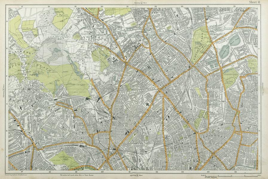 HAMPSTEAD ISLINGTON Camden Highgate Finsbury Park Primrose Hill. BACON  1920 map