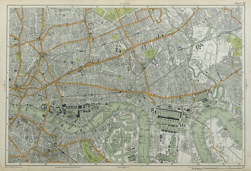 Associate Product LONDON City East End Southwark Bethnal Green Docks Shoreditch. BACON  1920 map