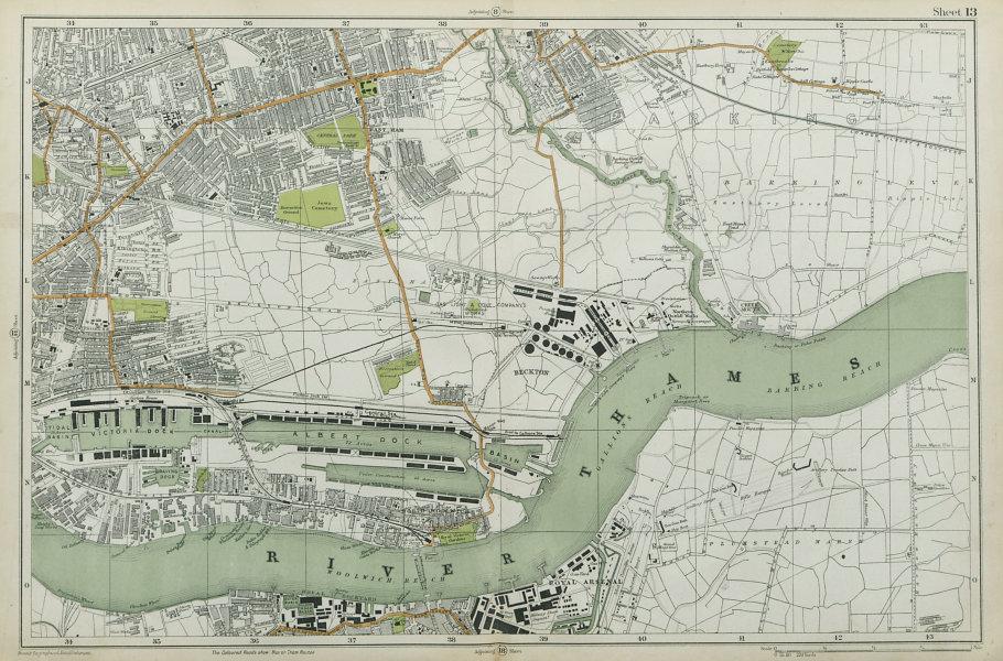 Associate Product WEST/EAST HAM & BARKING Plaistow Woolwich Thamesmead Beckton. BACON  1920 map