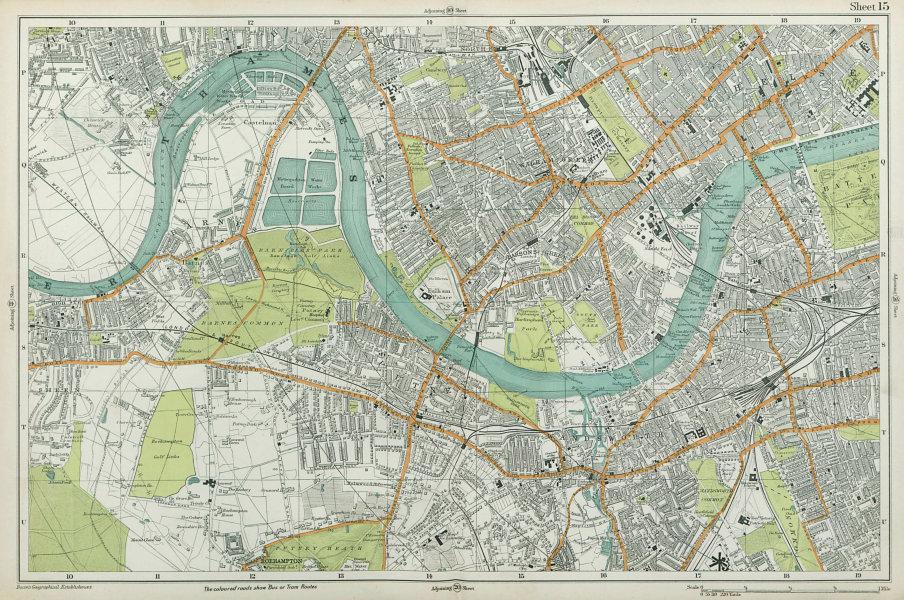 Associate Product LONDON Chiswick Barnes Fulham Chelsea Putney Wandsworth Clapham. BACON  1920 map