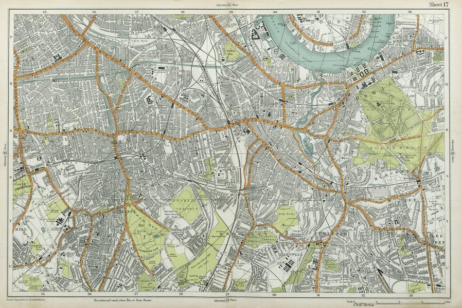 LONDON SOUTH Camberwell Greenwich Deptford Lewisham Southwark. BACON  1920 map