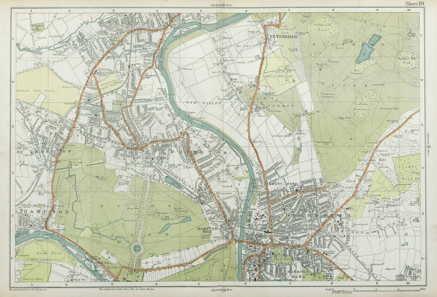 Associate Product SW LONDON Twickenham Kingston Teddington Hampton Richmond. BACON  1920 old map