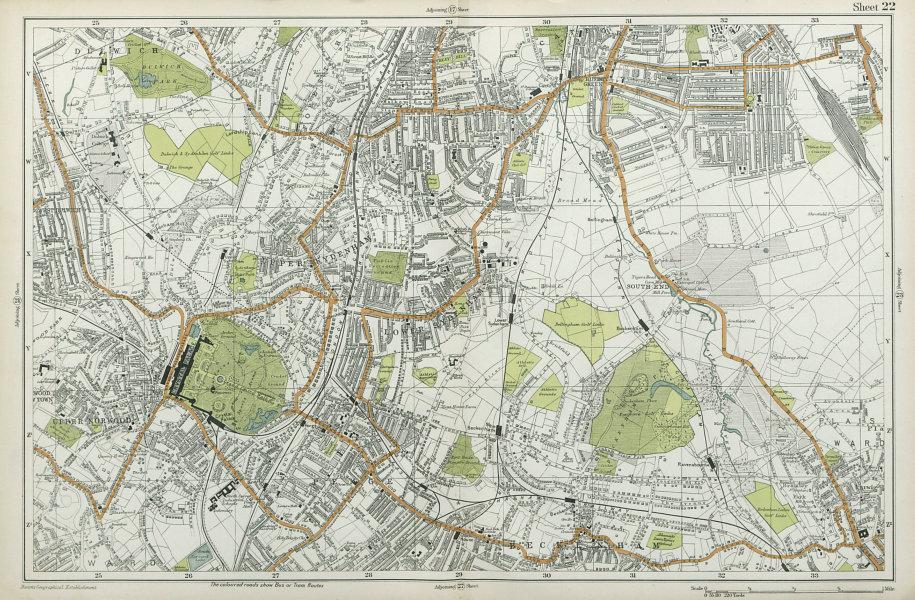 LONDON Sydenham Penge Beckenham Catford Norwood Dulwich Lewisham BACON  1920 map