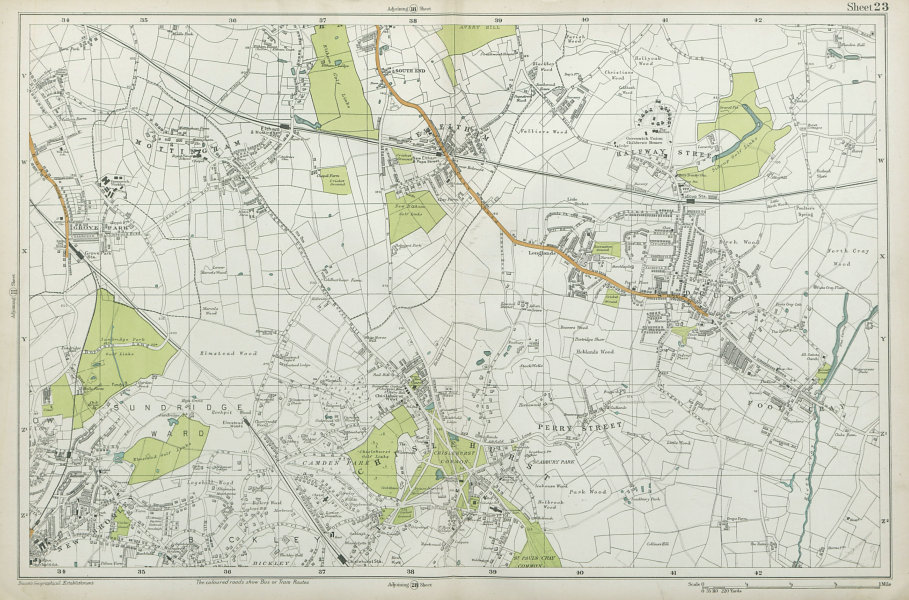 Associate Product CHISLEHURST Eltham Mottingham Bromley Sidcup Foots Cray Catford. BACON  1920 map