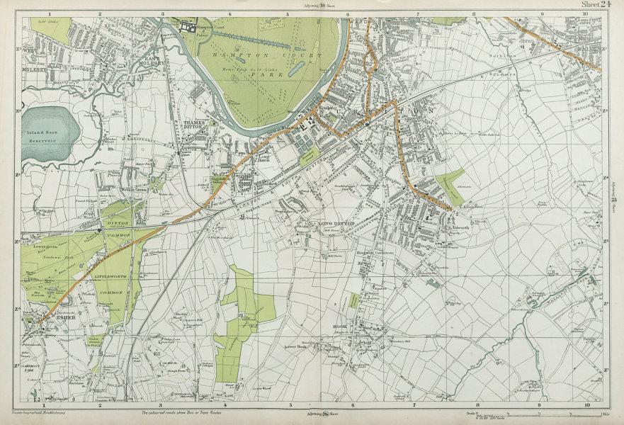 Associate Product SURBITON & ESHER Hampton Court East Molesey Thames Ditton Hook. BACON  1920 map