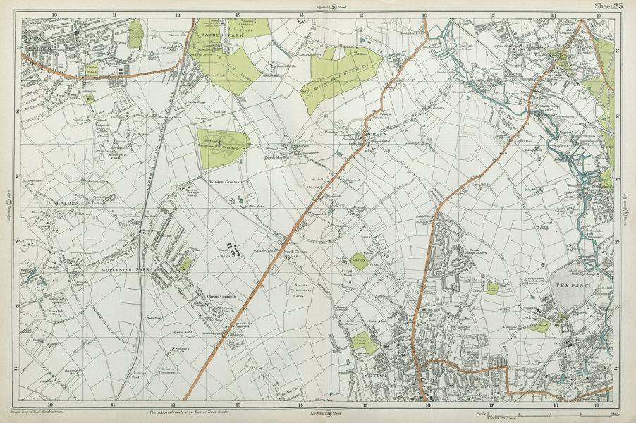 Associate Product SUTTON Carshalton Morden New Malden Worcester Pk Mitcham Cheam. BACON  1920 map
