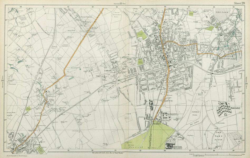 Associate Product SUTTON Cheam Epsom Belmont Carshalton Ewell Banstead Downs. BACON  1920 map