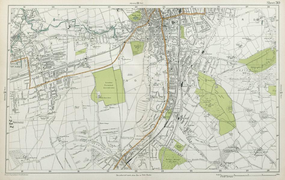 Associate Product SOUTH CROYDON Carshalton Wallington Waddon Beddington Purley. BACON  1920 map