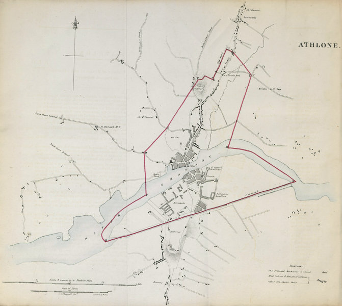 Associate Product ATHLONE town/borough plan. REFORM ACT. County Westmeath. Leinster 1832 old map