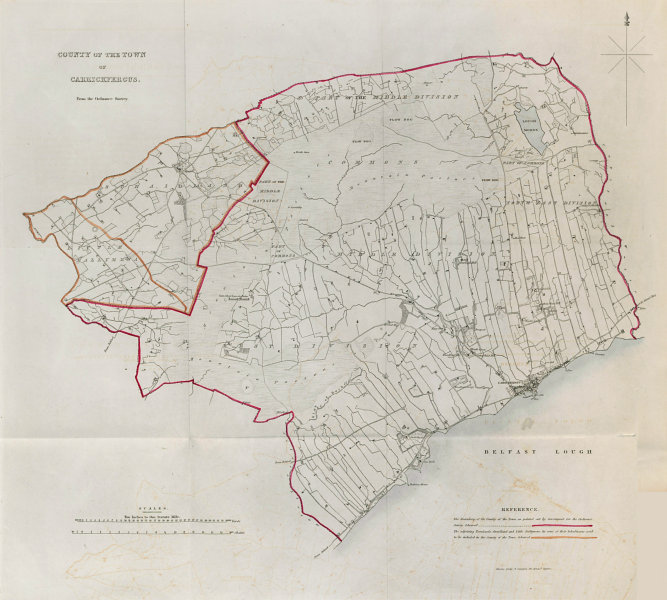 Associate Product COUNTY OF THE TOWN OF CARRICKFERGUS borough plan. REFORM ACT. Ulster 1832 map