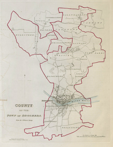 Associate Product COUNTY OF THE TOWN OF DROGHEDA borough plan. REFORM ACT Louth Leinster 1832 map