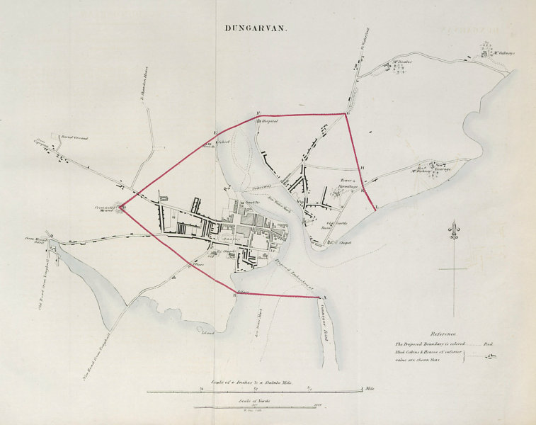 DUNGARVAN town/borough plan. REFORM ACT. County Waterford. Munster 1832 map