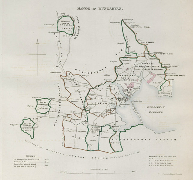 Associate Product 'MANOR OF DUNGARVAN' town/borough plan. REFORM ACT. Waterford. Munster 1832 map