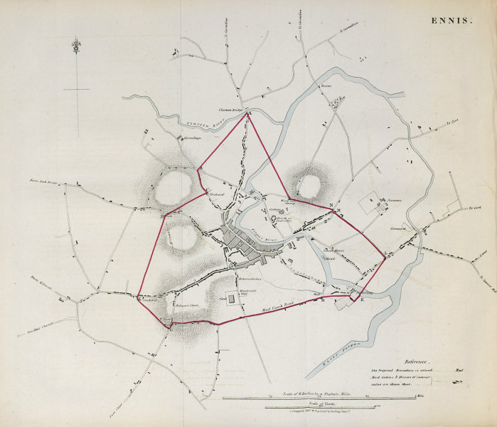 Associate Product ENNIS town/borough plan. REFORM ACT. County Clare. Munster 1832 old map