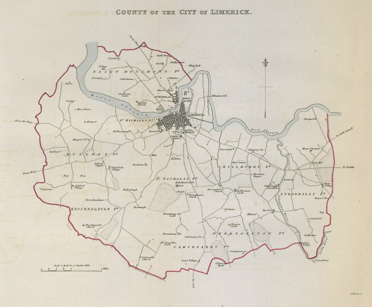 Associate Product 'COUNTY OF THE CITY OF LIMERICK' town/borough plan. REFORM ACT. Munster 1832 map