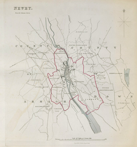 NEWRY town/borough plan. REFORM ACT. County Armagh/Down. Ulster 1832 old map