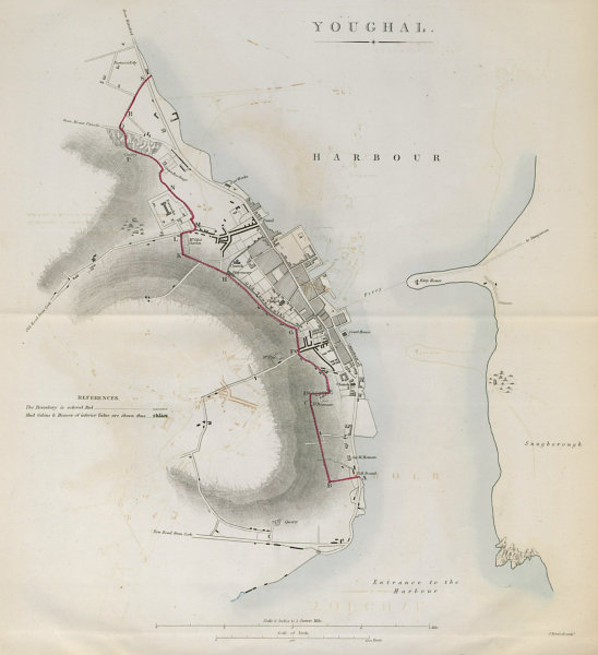 YOUGHAL town/borough plan. REFORM ACT. County Cork. Munster 1832 old map