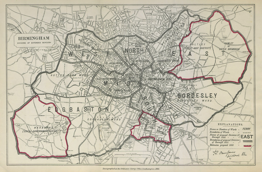 Associate Product Birmingham Parliamentary Borough. Edgbaston. BOUNDARY COMMISSION 1885 old map