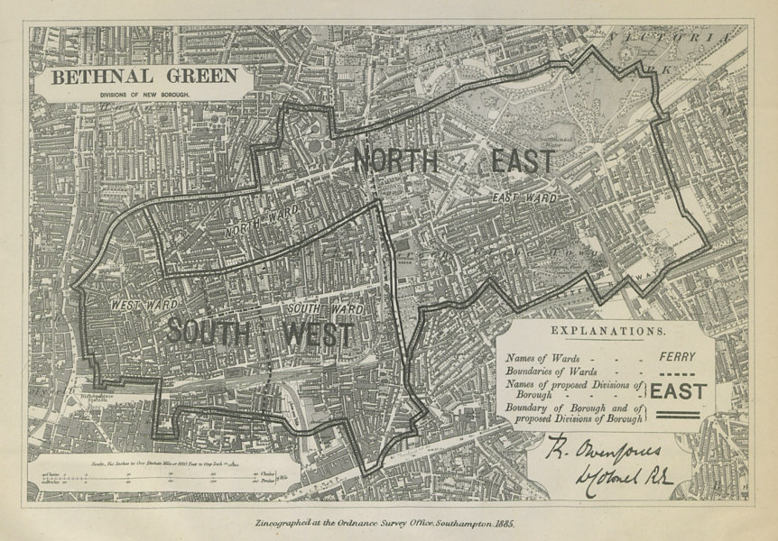 Associate Product Bethnal Green Parliamentary Borough. London. BOUNDARY COMMISSION 1885 old map