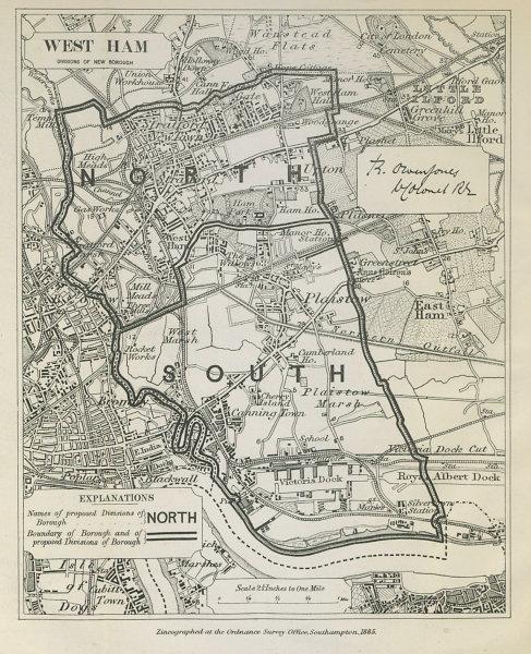 Associate Product West Ham Parliamentary Borough. Stratford Plaistow. BOUNDARY COMMISSION 1885 map