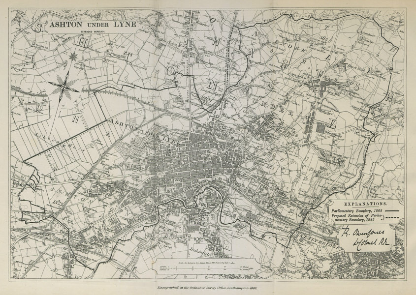 Associate Product Ashton under Lyne Parliamentary Borough Stalybridge BOUNDARY COMMISSION 1885 map