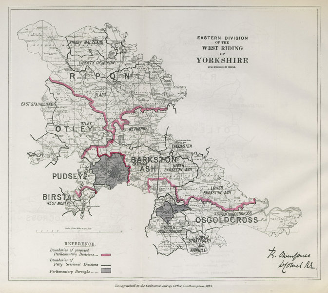 Associate Product Yorkshire West Riding East Division Parliamentary. BOUNDARY COMMISSION 1885 map