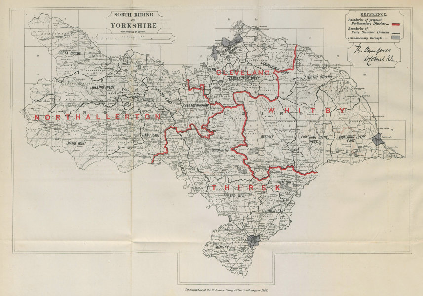 Associate Product Yorkshire North Riding Parliamentary Divisions. BOUNDARY COMMISSION 1885 map