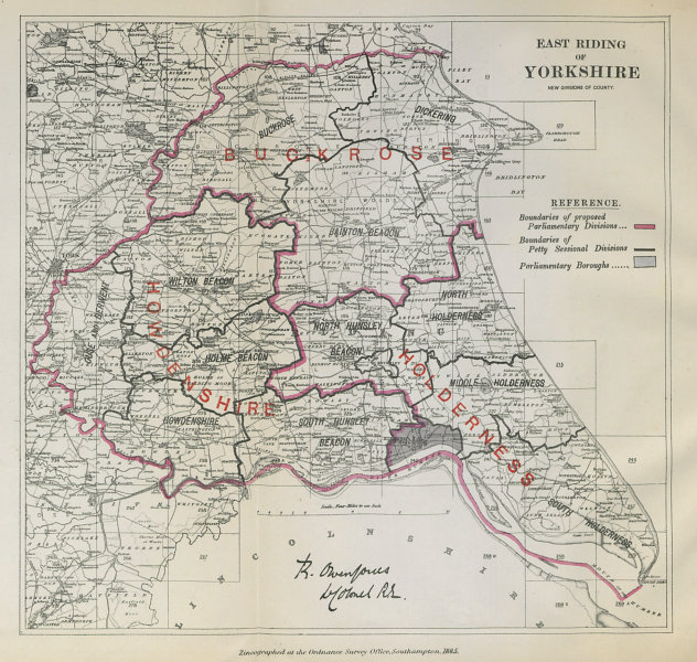 Associate Product Yorkshire East Riding Parliamentary Divisions. BOUNDARY COMMISSION 1885 map