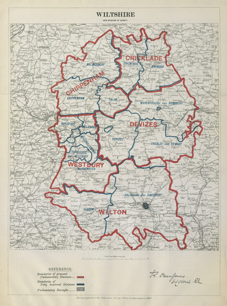 Associate Product Wiltshire Parliamentary Divisions Cricklade Devizes BOUNDARY COMMISSION 1885 map
