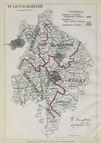 Associate Product Warwickshire Parliamentary Divisions. Rugby. BOUNDARY COMMISSION 1885 old map